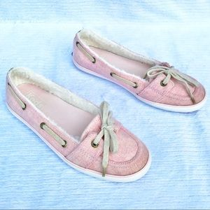 Keds Pink Teacup Boat Faux Fur Lined Slip-On Sz 5